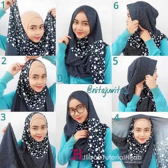 tutorial cara memakai hijab pashmina monocombi modern bermotif pesta glamour terbaru
