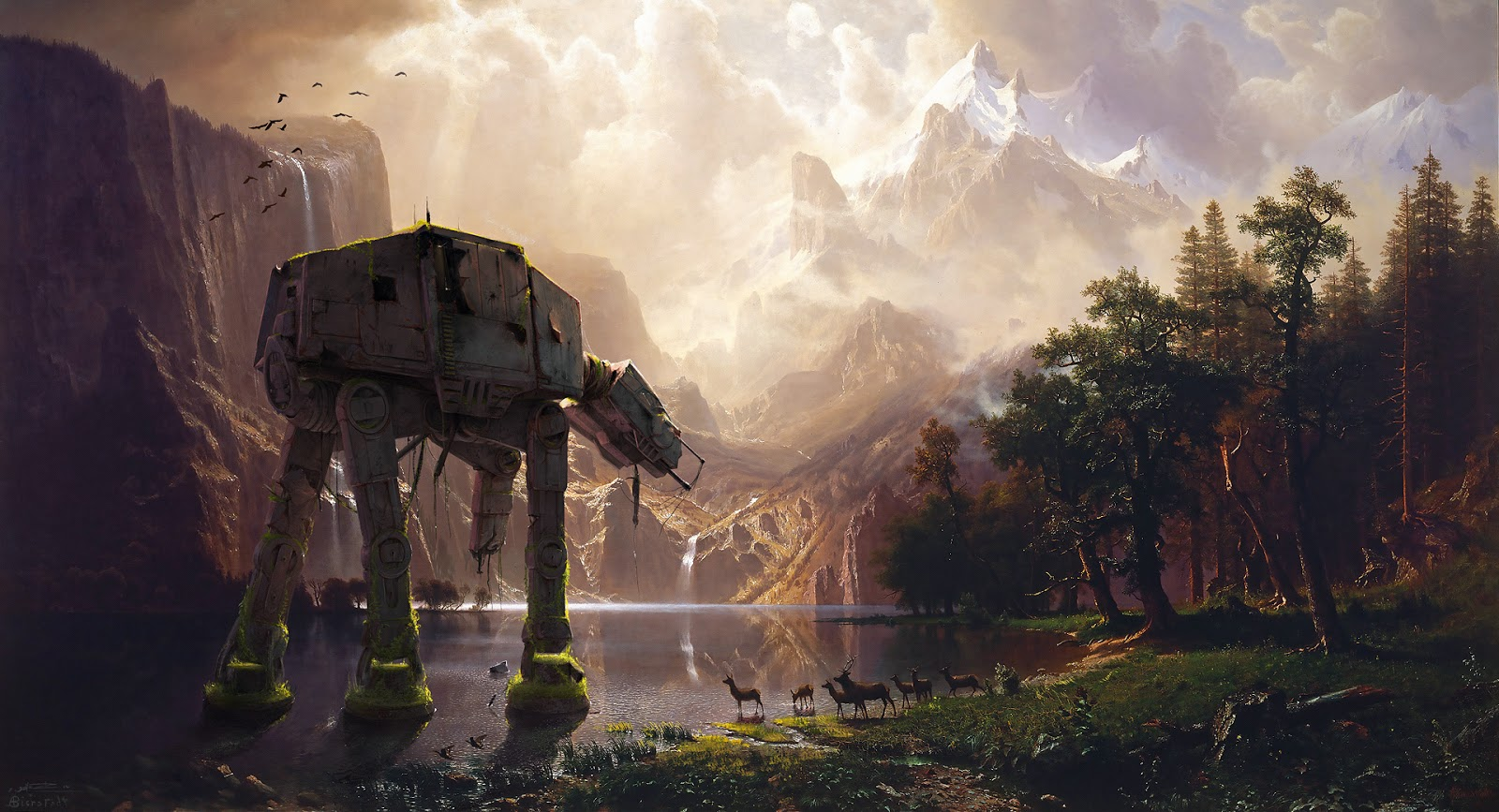 Digital Overpainting representing an AT-AT Walker in an Albert Bierstadt painting called Among the Sierra NEvada