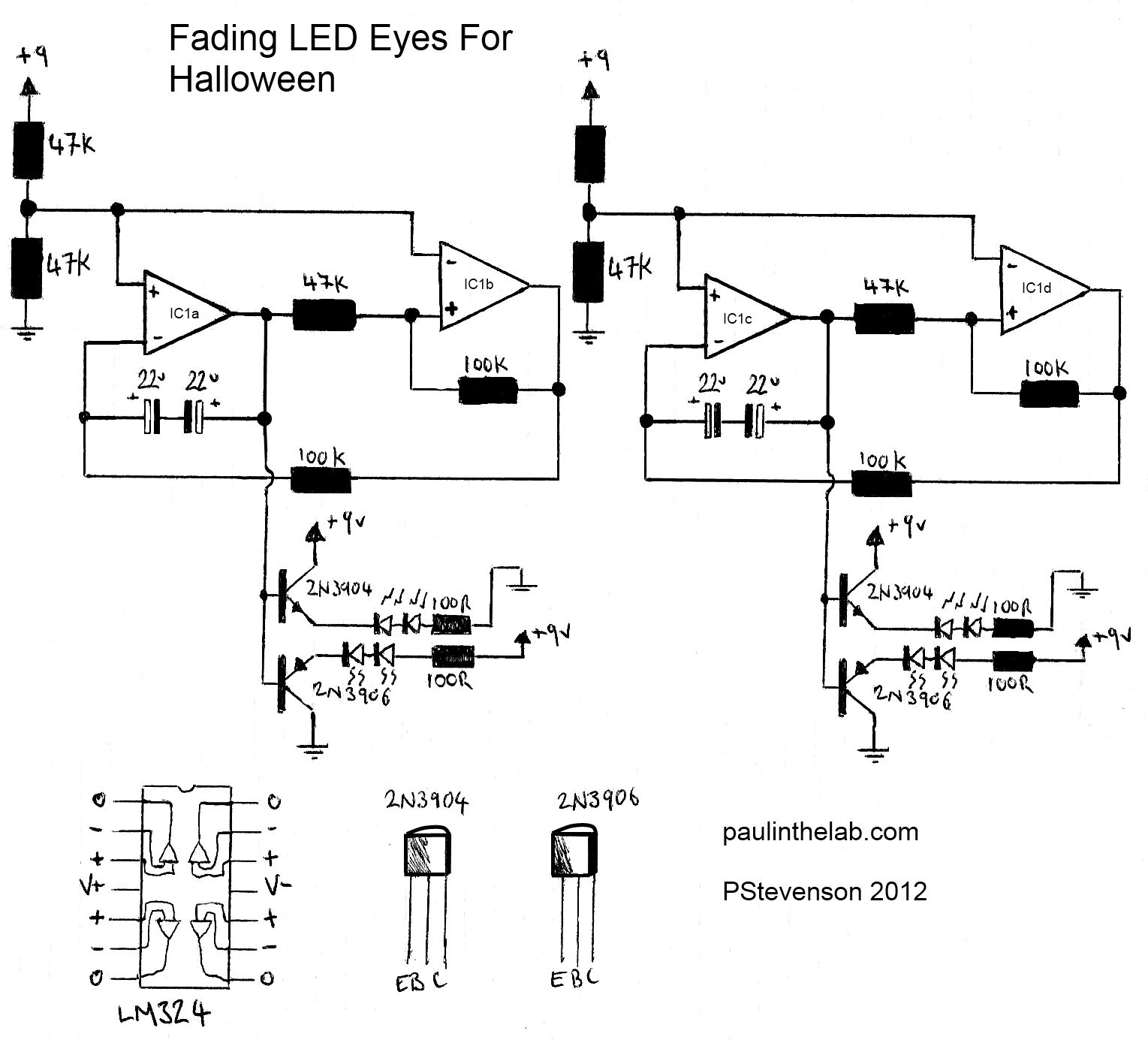 Paul In The Lab Fading Leds Eyes For Halloween Decorations Pnp 24v Wiring Diagrams Photo Make Circuit Will Power 4 Toilet Roll Monsters 2 Per Or Whatever You Want To Put Below Is A Video Of It Action