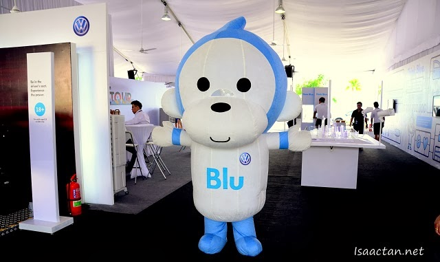 The rather cute Blu mascot at Volkswagen On Tour
