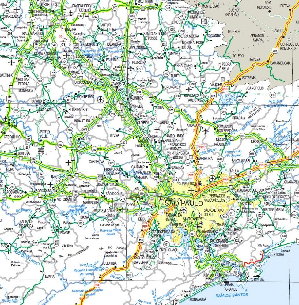 mapa sp rodoviario malha viaria