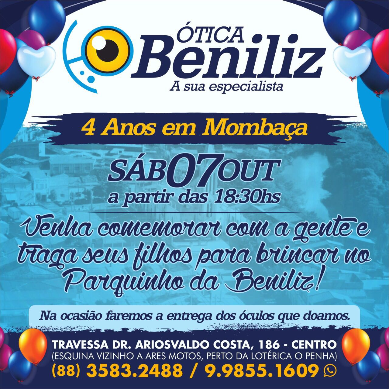 ATENÇÃO CRIANÇADA  TERÁ PARQUINHO NA ÓTICA BENILIZ!!! ~ Mombaça On-Line 39515894b7