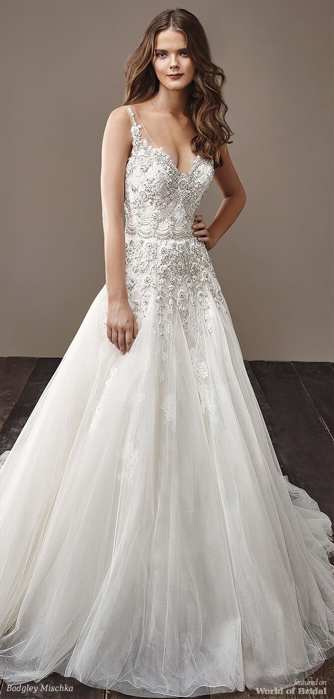 Badgley Mischka 2018 classic A-line bridal gown