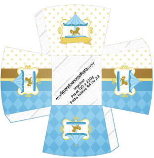 Carousel in Light Blue: Free Printable Boxes.