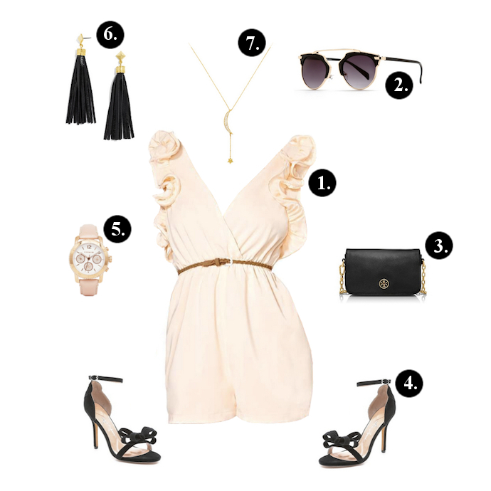 Romper outfits, Romper outfit ideas, Walktrendy romper, Windsor sunglasses, Tory Burch Bag, Isa Tapia Heels, Coach Watch, BaubleBar Earrings, Baublebar necklace