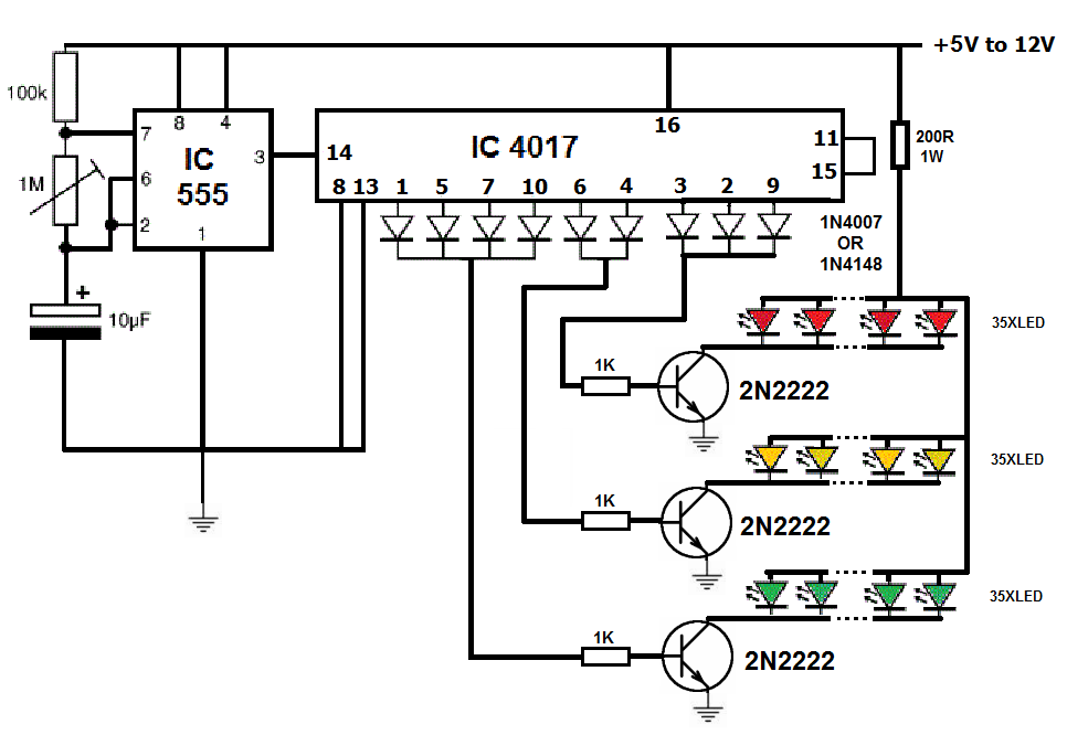 Traffic light using 4017 and 555 ~ Simple Projects