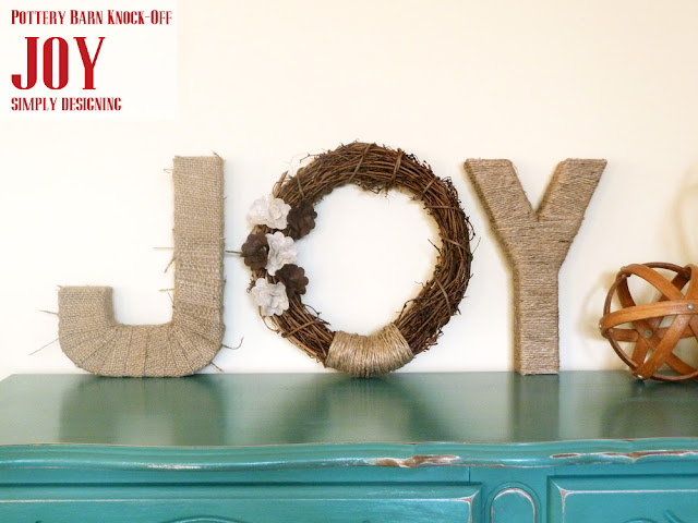 JOY {Pottery Barn Knock-Off}   simple DIY Holiday or Christmas decor inspired by PB   #crafts #holidaycrafts #christmas #diygifts #CraftersRAK #spon