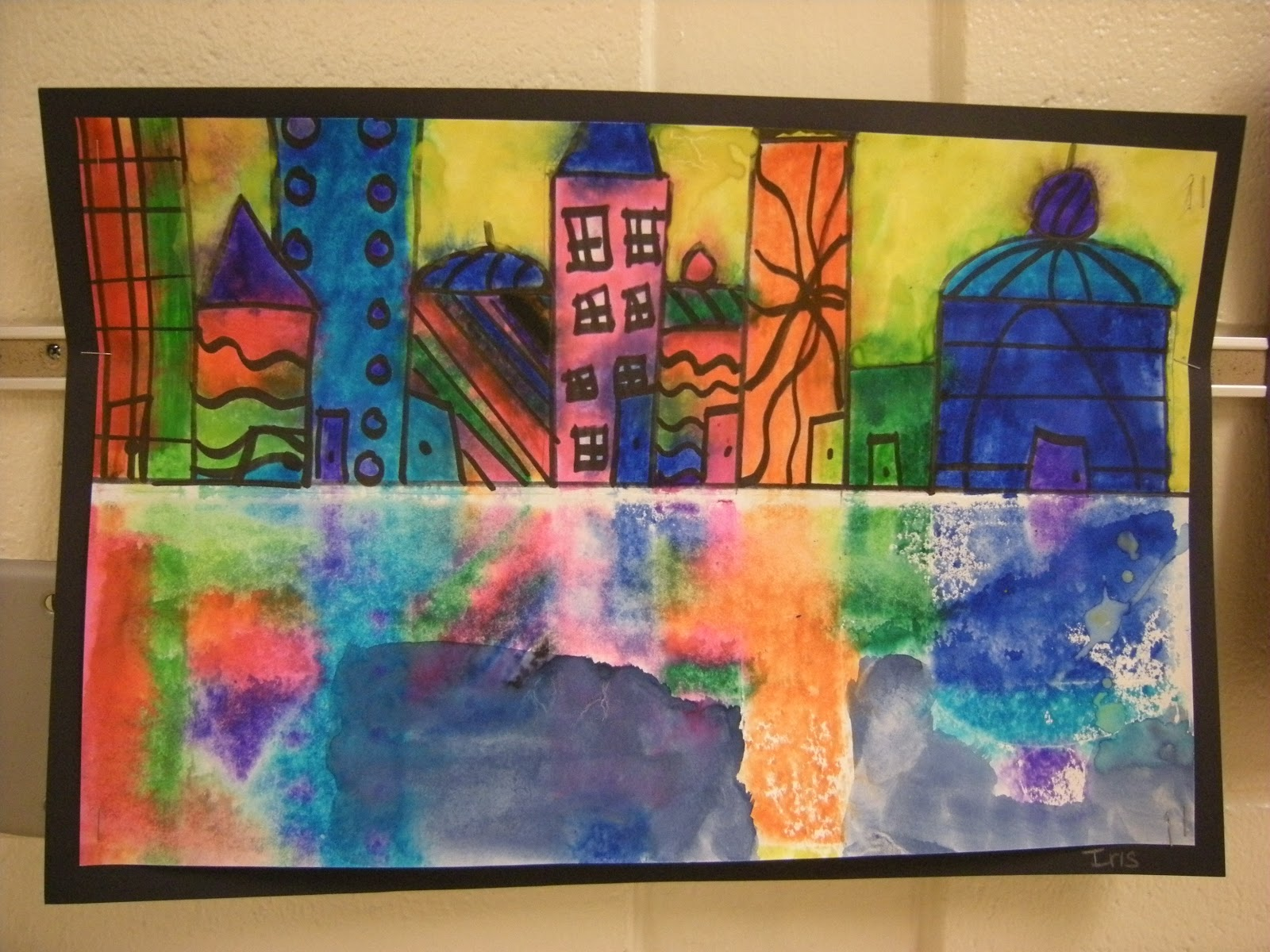What S Happening In The Art Room 2nd Grade Cityscape Reflections