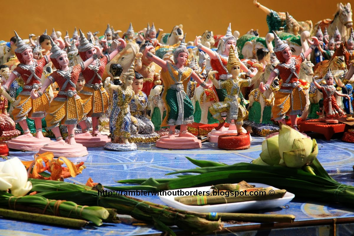 food and figurines offer to gods and spirits, Thailand