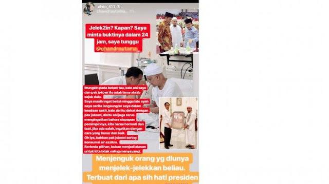 Putra Ustaz Arifin Ilham Geram dengan Ucapan Pendukung Jokowi Ini
