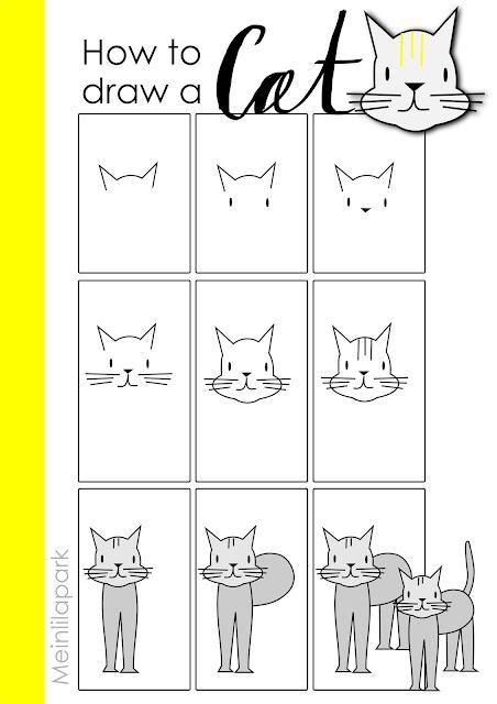 How to draw a cat - easy tutorial + clip art - wie zeichne ich eine Katze