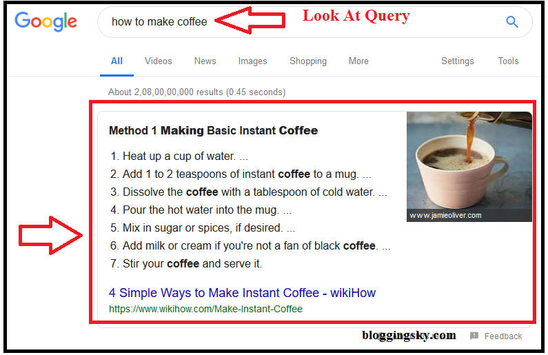 List Google Snippets Example