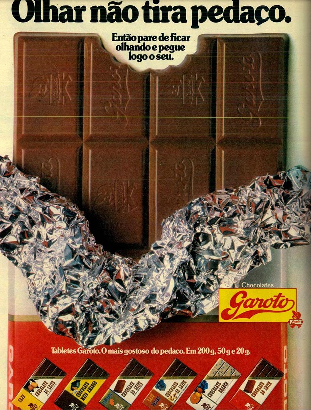 Campanha veiculada em 1987 para promover a linha de chocolates da Garoto