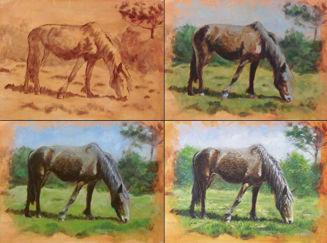 Artist Davey underpainting of horse
