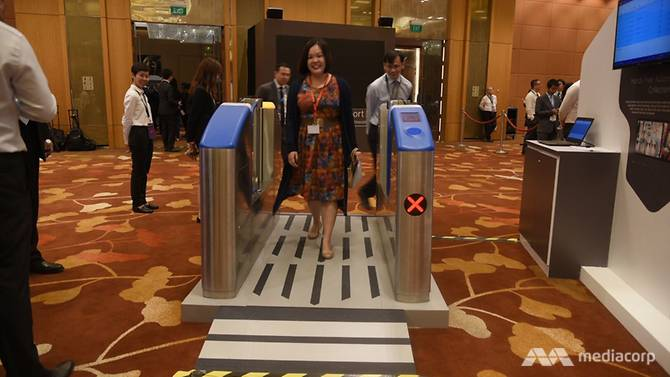 Hands-free fare gate is one of the innovative ideas on display at a technology showcase held in conjunction with the 23rd ASEAN Transport Ministers Meeting on Thursday (12 October 2017).