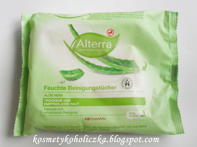 Alterra, nawilżane chusteczki oczyszczające do skóry suchej i wrażliwej
