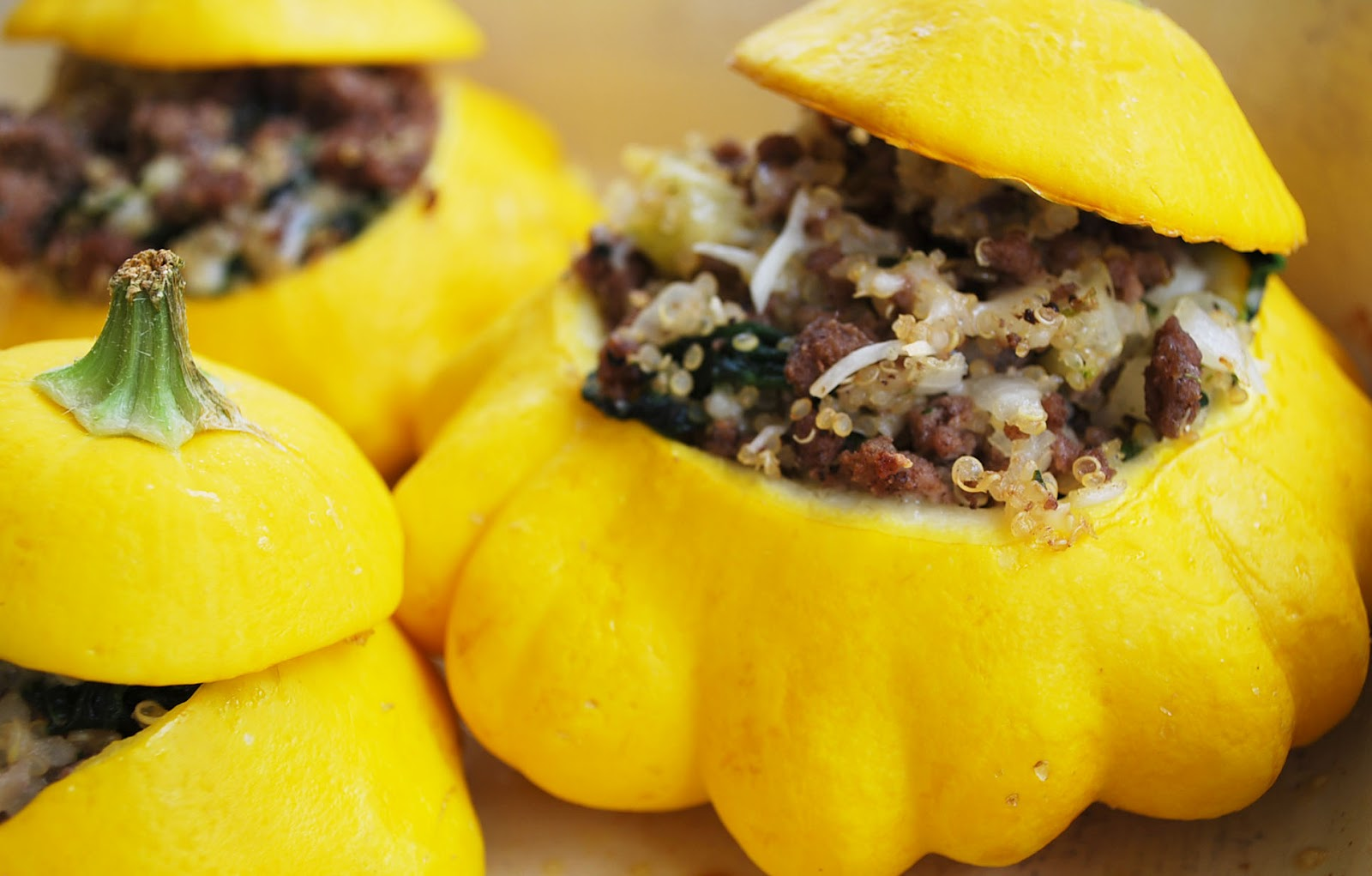 Stuffed Patty Pan Squash With Quinoa Beef And Spinach