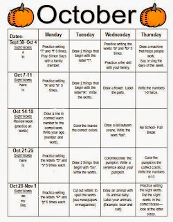 Oct+HW+Calendar - Kellys Kindergarten Homework