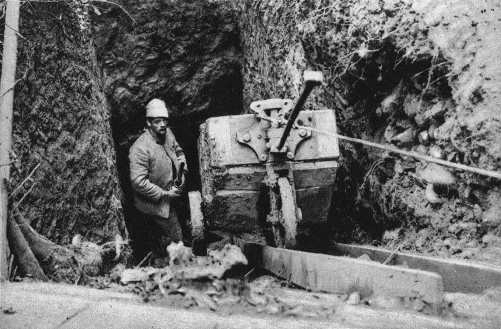 A mine tunnel is dug under the German lines on the Vosges front, on October 19, 1916. The sappers worked at a depth of about 17 meters, until they reached a spot below enemy positions, when large explosives would be placed and later detonated, destroying anything above.