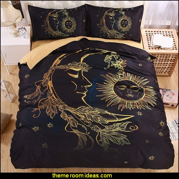 Sun Moon and Stars 3D Bedding Set  celestial - moon - stars - astrology - galaxy theme decorating ideas - moon stars bedroom ideas - outerspace theme bedrooms - constellation bedding - night sky wall murals - moon stars wallpaper murals - moon stars bedding - star decorations