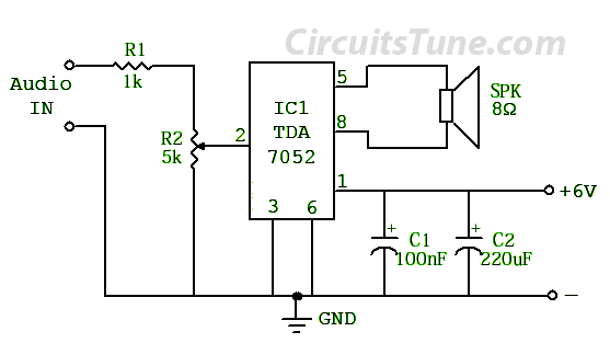 Simple Circuit Diagram for Amplifier by TDA7052 | CircuitsTune on