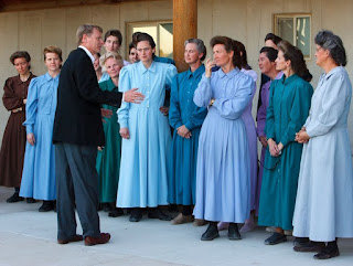 "Trent Nelson | The Salt Lake Tribune Eldorado - Attorney Rod Parker advises a group of FLDS women as they prepare to speak to the media after being separated from their children Monday, April 14, 2008, at the YFZ ""Yearning for Zion"" Ranch."