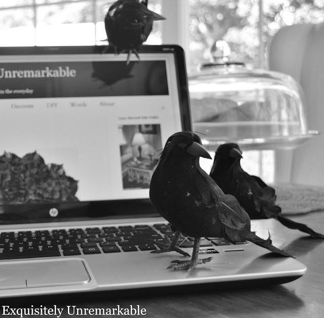 Faux Black Birds On A Computer