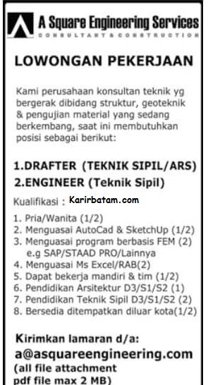 Lowongan Kerja PT. A Square Engineering Services