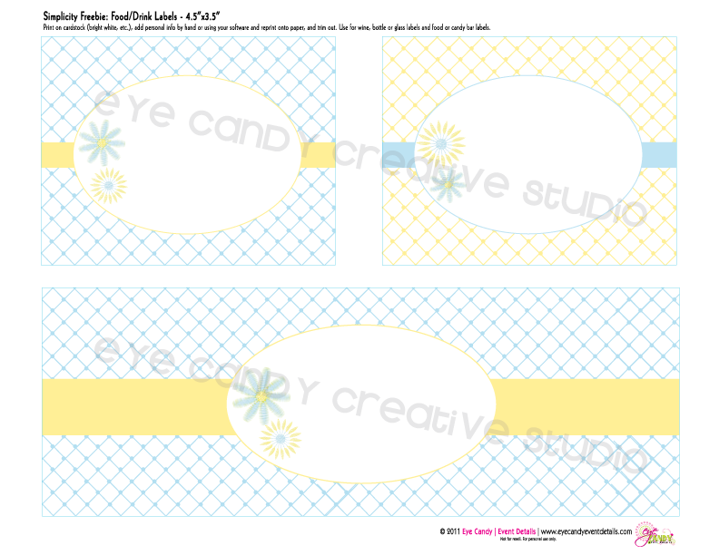 drink labels, free food labels, free download, summertime, daisies, yellow & blue