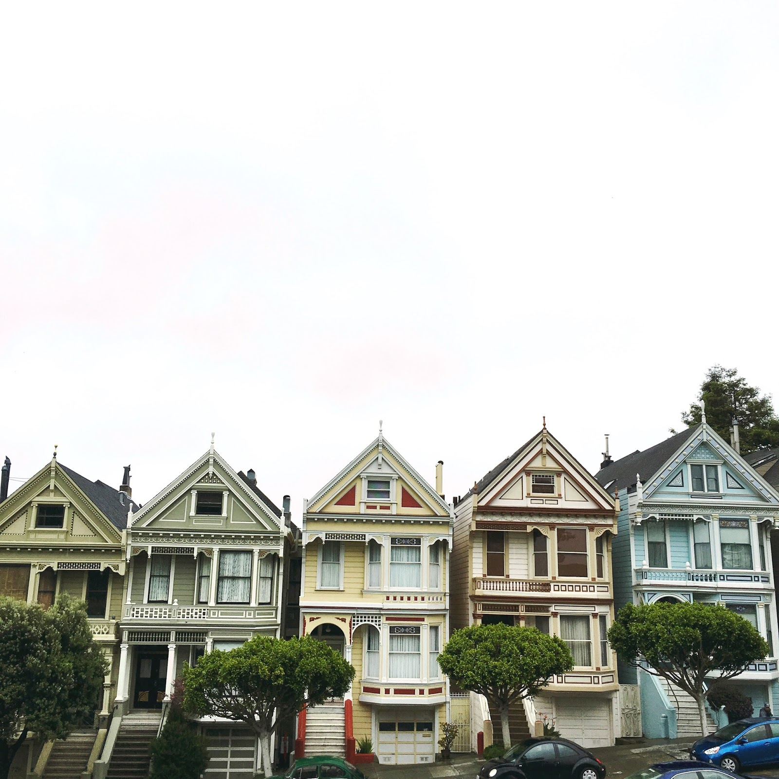 Muted Colors on the painted Ladies bring life to a gloomy day.