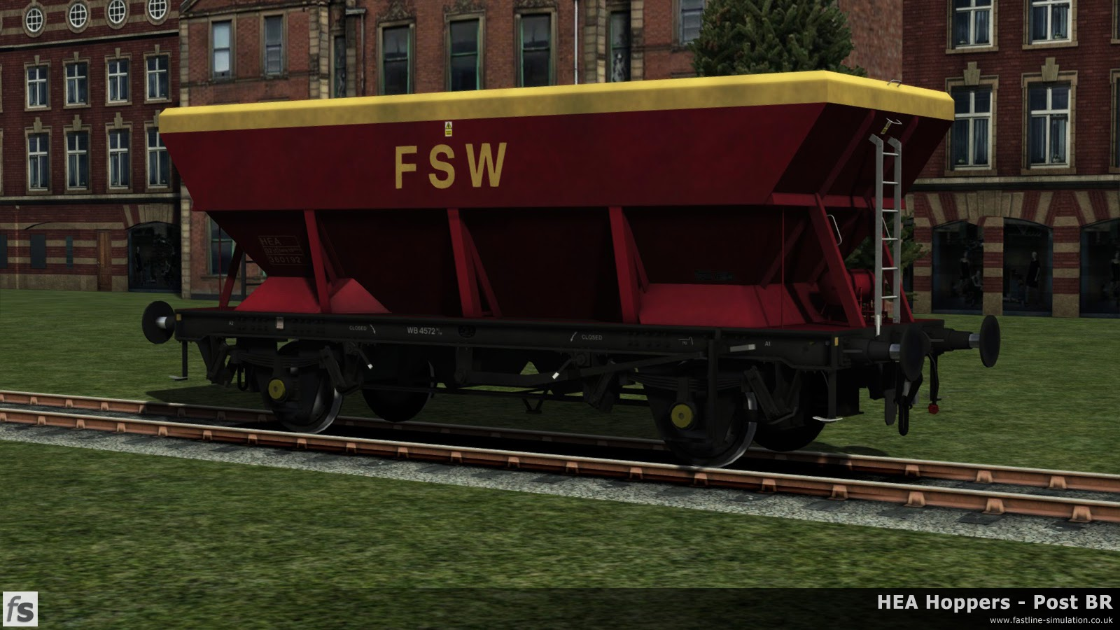 HEA Hoppers - Post BR: One of the earlier built HEA hoppers with a central ladder and small supports at the corner of the hopper in almost ex-works Red and Gold livery with a wide band and big logo under development for Train Simulator 2014.