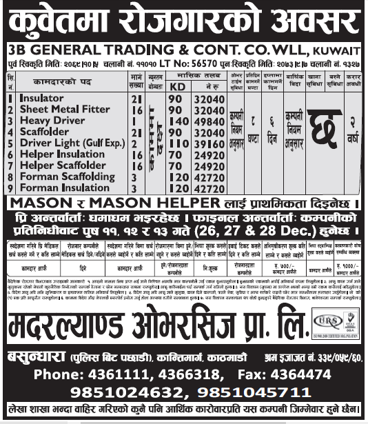Jobs in Kuwait for Nepali, Salary Rs 49,840