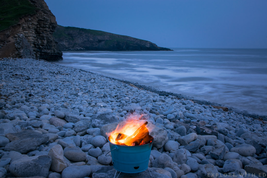 Southerndown Beach, Log fire, Real Wales Tours