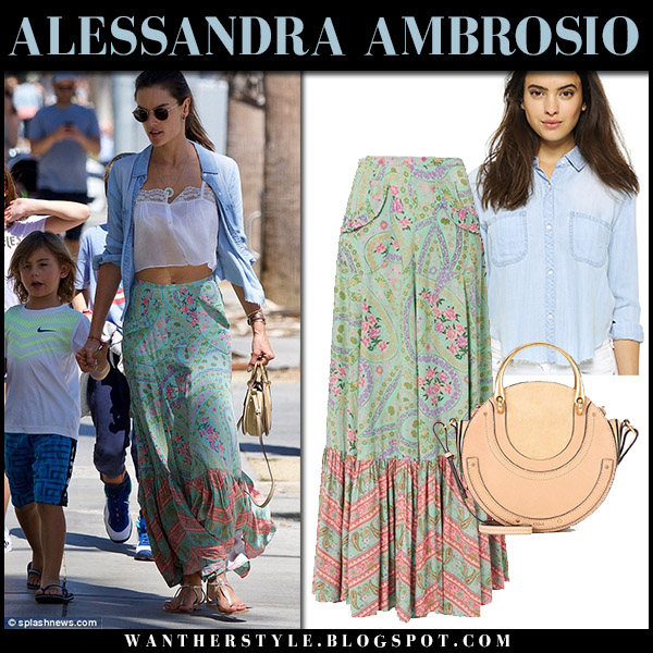 Alessandra Ambrosio in denim shirt and green floral print maxi skirt model street fashion september 17