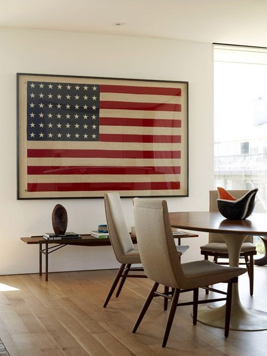 Framed 48 Star American Flag Content In A Cottage
