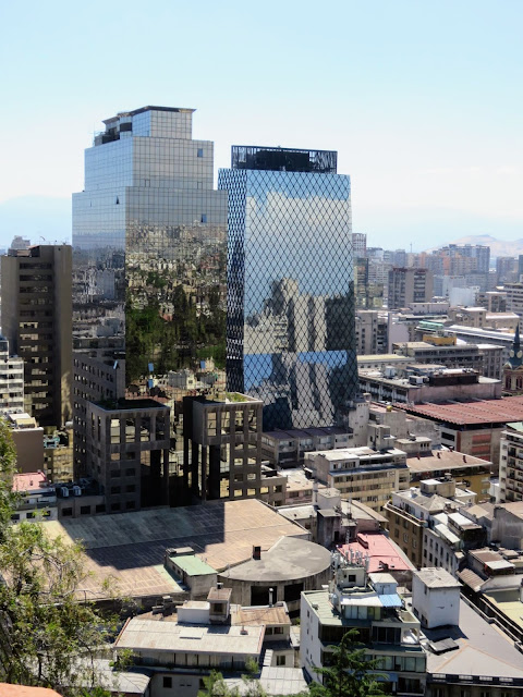 Modern glass buildings reflecting the light in Santiago Chile (viewed from Santa Lucia Hill)