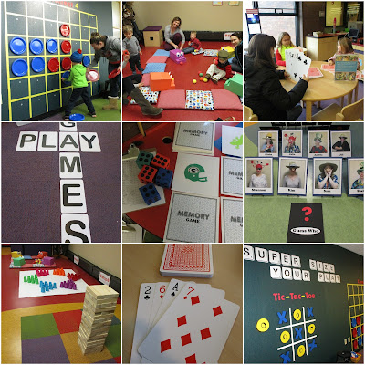 a collage of photos, giant tick tack toe, cards, guess who?, jenga