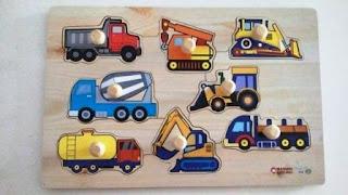 Puzzle Anak Knop Transport