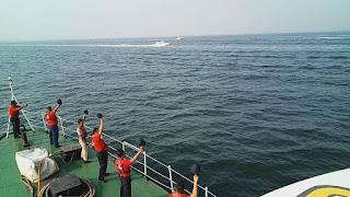 Empat Kapal Patroli Pangkalan PLP Tanjung Priok Kawal Obor Asian Games Ke Pulau Untung Jawa