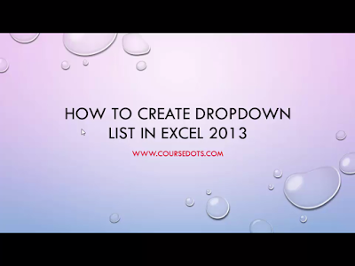 HOW TO CREATE DROP DOWN LIST IN EXCEL 2013-2016