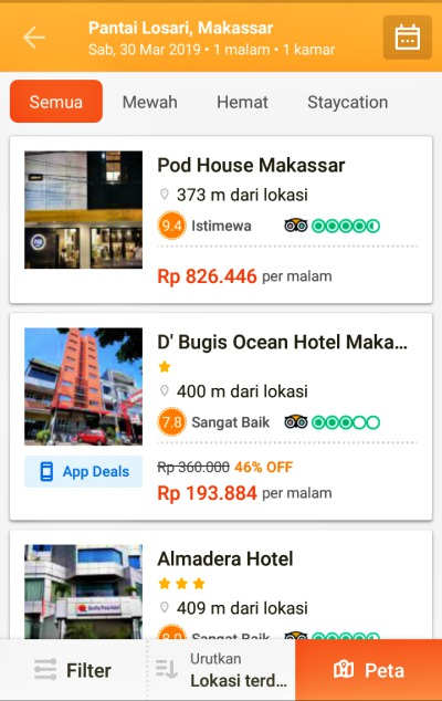 Pegipegi cari hotel di Makassar