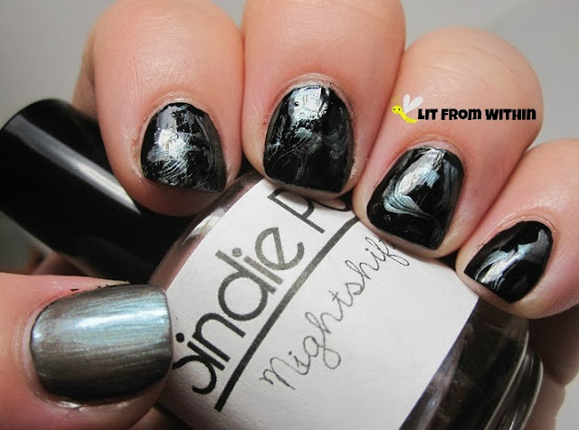 Cult Nails Nevermore with this cool iridescent topper, Sindie Pop Nightshifter, on top
