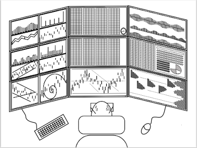 Day trader with a matrix of monitors