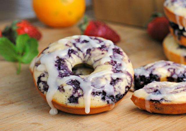 Blueberry Glazed Lemon Doughnuts