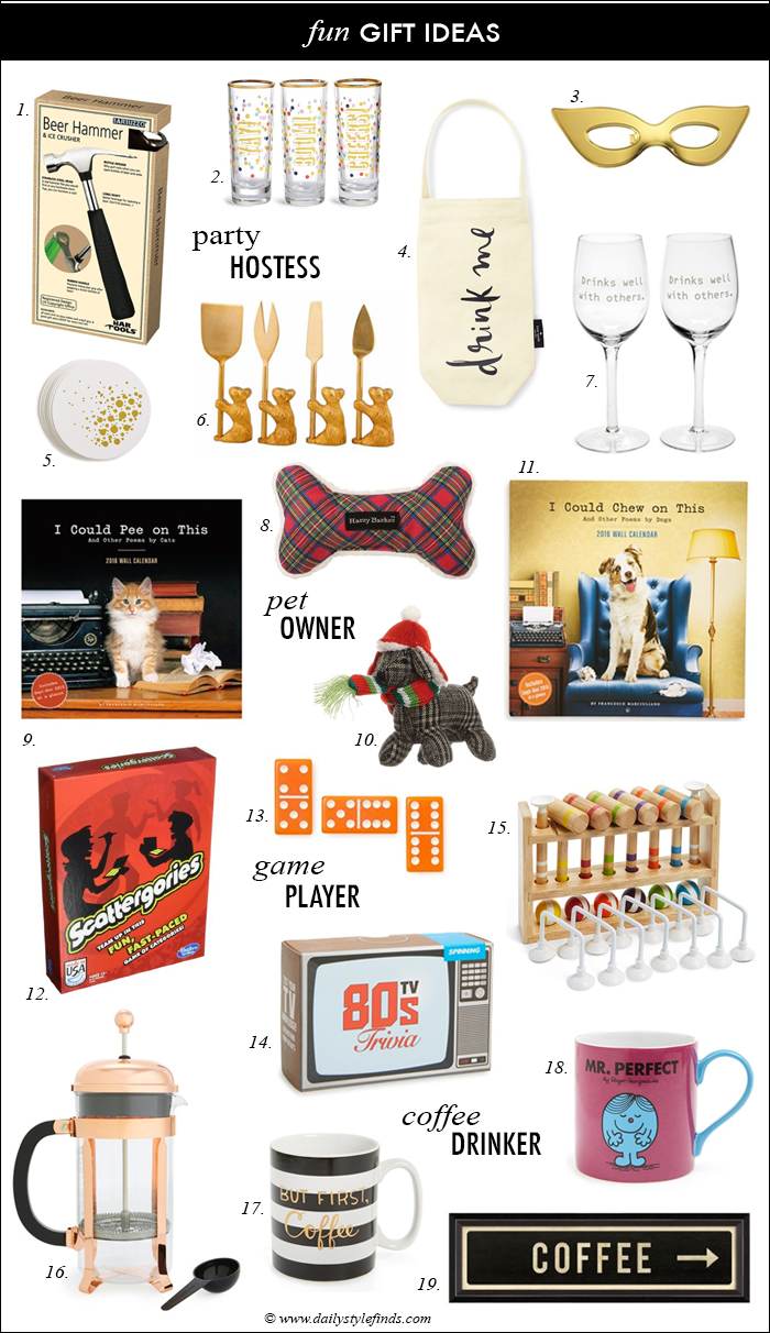 fun gift ideas under $25, hostess gift ideas, gift exchange ideas, holiday parties