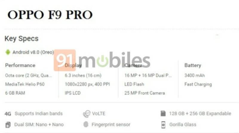 OPPO F9 Pro Specs?