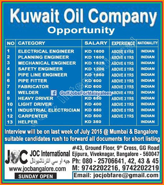 Kuwait Oil Company Job Vacancies Gulf Jobs For Malayalees