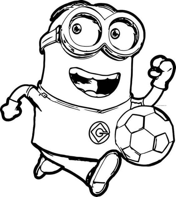 Tranh tô màu Minion và đá bóng
