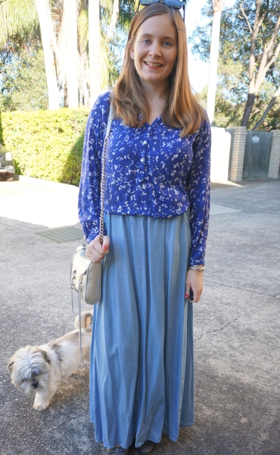 long sleeve blue printed shirt, noise may chambray denim maxi skirt silver bag | Away From Blue