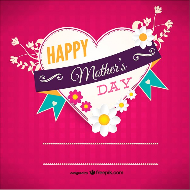 Heart shaped Mother's Day card Free Vector